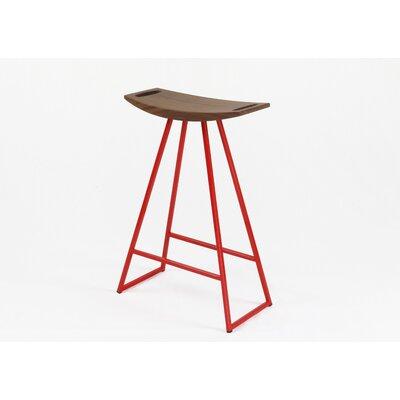 Roberts 24 inch Bar Stool Upholstery: Walnut, Base Finish: Red