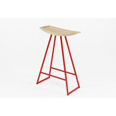 Roberts 24 inch Bar Stool Upholstery: Maple, Base Finish: Red