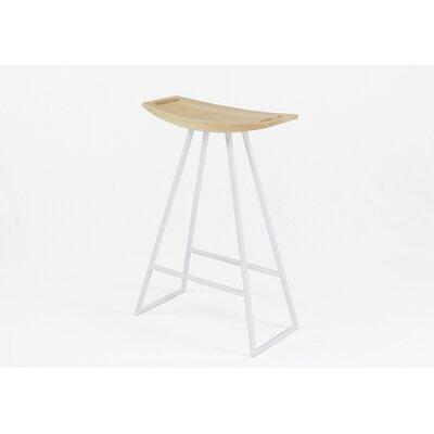 Roberts 24 Bar Stool Upholstery: Maple, Base Finish: White