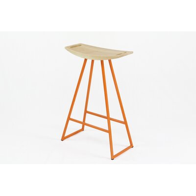 Roberts 24 inch Bar Stool Upholstery: Maple, Base Finish: Orange