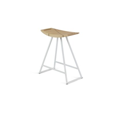 Roberts 18 Bar Stool Upholstery: Maple, Base Color: White