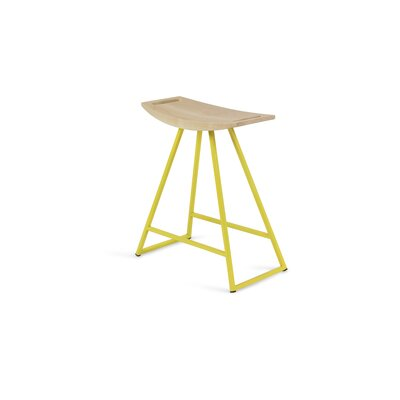 """Image of Roberts 18"""" Bar Stool Base Color: Yellow, Upholstery: Maple"""