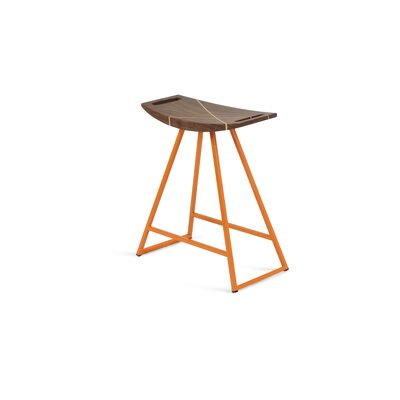 Roberts 18 Bar Stool Base Color: Orange, Upholstery: Walnut