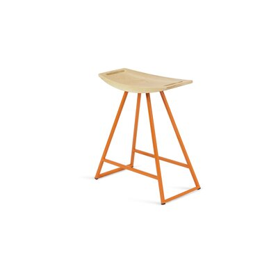 Roberts 18 Bar Stool Base Color: Orange, Upholstery: Maple