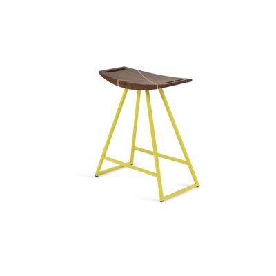 Roberts 18 Bar Stool Base Color: Yellow, Upholstery: Walnut