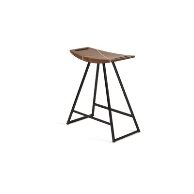 Roberts 18 Bar Stool Base Color: Black, Upholstery: Walnut