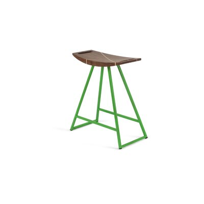 Roberts 18 inch Bar Stool Base Color: Green, Upholstery: Walnut