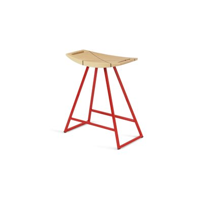 Roberts 18 Bar Stool Base Color: Red, Upholstery: Maple