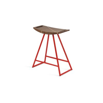Roberts 18 inch Bar Stool Base Color: Red, Upholstery: Walnut