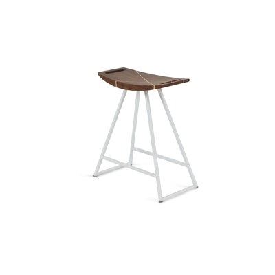 Roberts 18 inch Bar Stool Base Color: White, Upholstery: Walnut