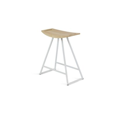 Roberts 18 Bar Stool Base Color: White, Upholstery: Maple