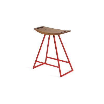 Roberts 18 Bar Stool Base Color: Red, Upholstery: Walnut