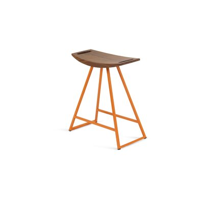 Roberts 18 inch Bar Stool Base Color: Orange, Upholstery: Walnut