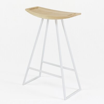 Roberts 24 inch Bar Stool Base Color: White, Upholstery: Maple