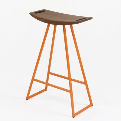 Roberts 24 Bar Stool Base Color: Orange, Upholstery: Walnut