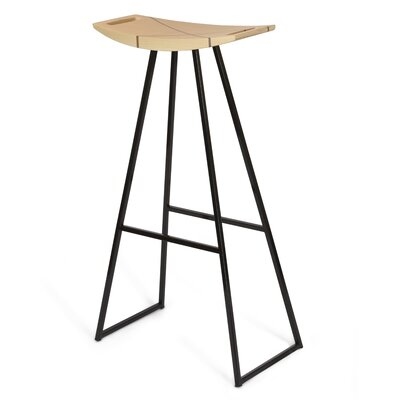Roberts 30 Bar Stool Base Color: Black, Upholstery: Walnut