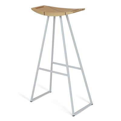 Roberts 30 Bar Stool Base Color: White, Upholstery: Maple