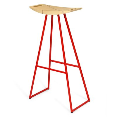 Roberts 30 Bar Stool Base Color: Red, Upholstery: Maple