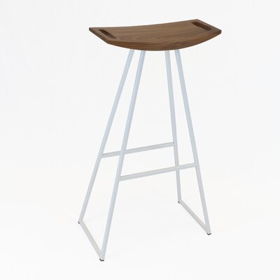 Roberts 30 Bar Stool Base Color: White, Upholstery: Walnut