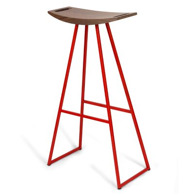 Roberts 30 Bar Stool Base Color: Red, Upholstery: Walnut