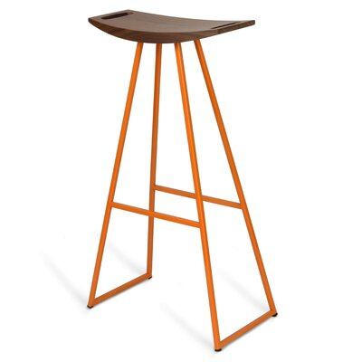 Roberts 30 Bar Stool Base Color: Orange, Upholstery: Walnut