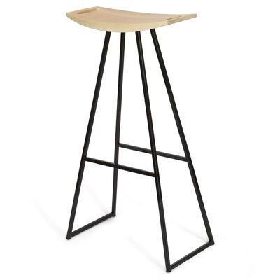 Roberts 30 Bar Stool Base Color: Black, Upholstery: Maple