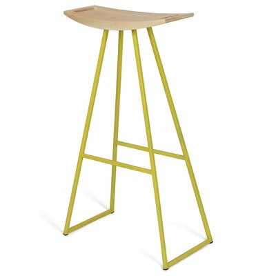 """Image of Roberts 30"""" Bar Stool Base Color: Yellow, Upholstery: Maple"""