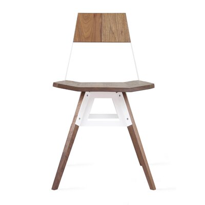 Clarke Solid Wood Dining Chair Color: Walnut/White