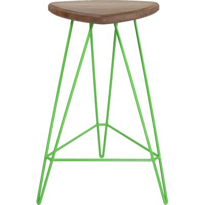 Madison Bar Stool Base Color: Green, Seat Color: Maple