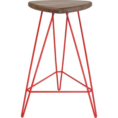 Madison Bar Stool Base Color: Red, Seat Color: American Walnut