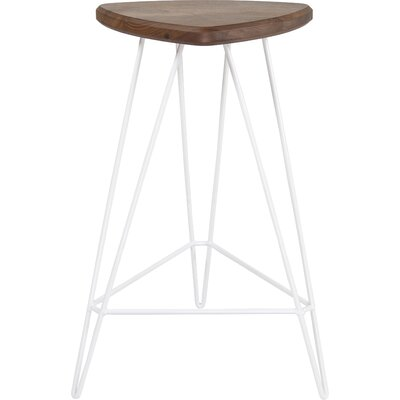 Madison Bar Stool Base Color: White, Seat Finish: American Walnut