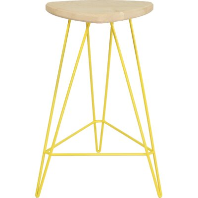 Madison Bar Stool Base Color: Yellow, Seat Color: American Walnut