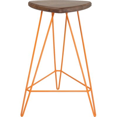 Madison Bar Stool Base Color: Orange, Seat Color: American Walnut