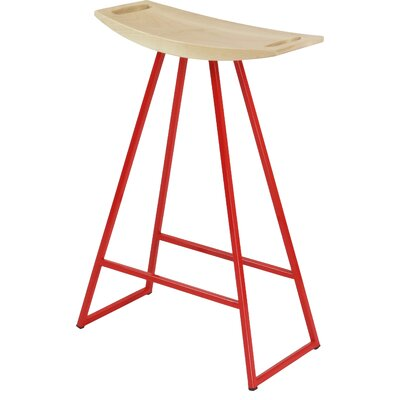 Roberts 24 Bar Stool Base Color: Red, Upholstery: Walnut