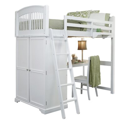 Javin Twin Locker Loft Bed with Desk Finish: White