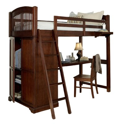 Javin Twin Locker Loft Bed with Desk Finish: Chestnut