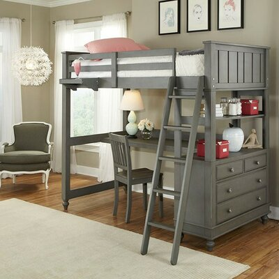 Lake House Loft Bed Configuration: Twin, Color: Stone