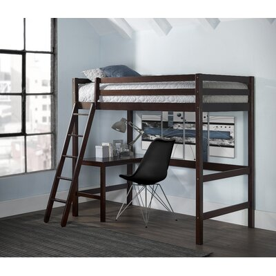 Felipe Twin Bunk with Study Loft Bed Frame Color: Chocolate