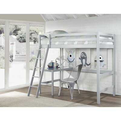 Felipe Twin Bunk with Study Loft Bed Frame Color: Gray