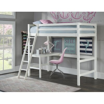 Felipe Twin Bunk with Study Loft Bed Frame Color: White