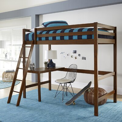 Felipe Twin Bunk with Study Loft Bed Frame Color: Walnut