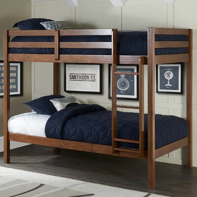 Felipe Twin Over Twin Bunk Bed Bed Frame Color: Walnut