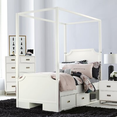 Jereme Canopy Panel Bed with Two Storage Drawer Units, Soft White Size: Twin
