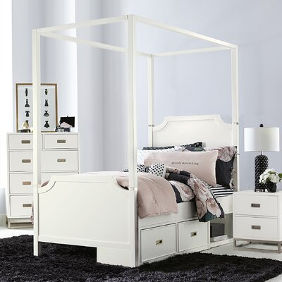 Jereme Canopy Panel Bed with Storage Drawer Unit, Soft White Size: Twin