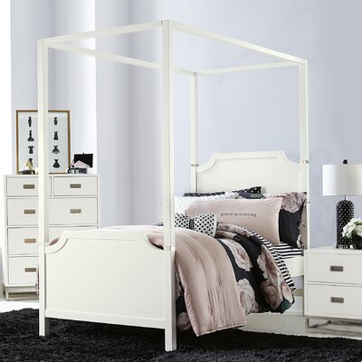 Jereme Canopy Panel Bed, Soft White Size: Twin