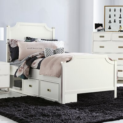 Angus Panel Bed with Storage Drawer Unit, Soft White Size: Full