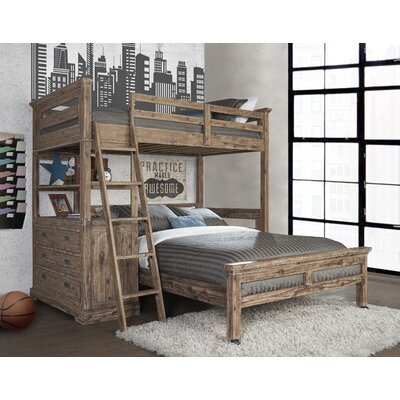 Berrima Twin over Twin L-Shaped Bunk Bed with 4 Drawer Chest and Lower Bed