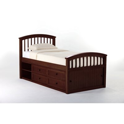 Javin Captain Bed HB/FB/Slats Size: Twin, Finish: Cherry