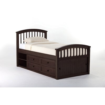 Javin Captain Bed HB/FB/Slats Size: Twin, Finish: Chocolate