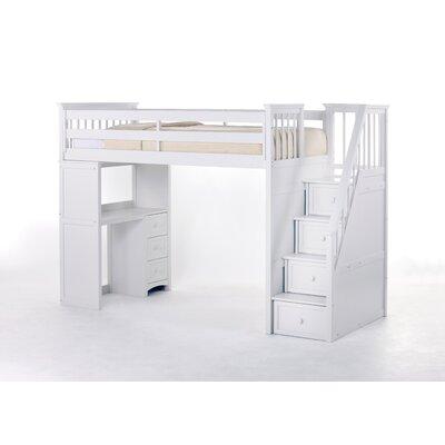 Javin Stair Loft Bed Desk Cabinet in White
